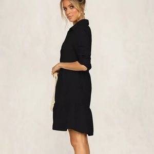 Black Lapel Long Sleeve Shirt Dress S